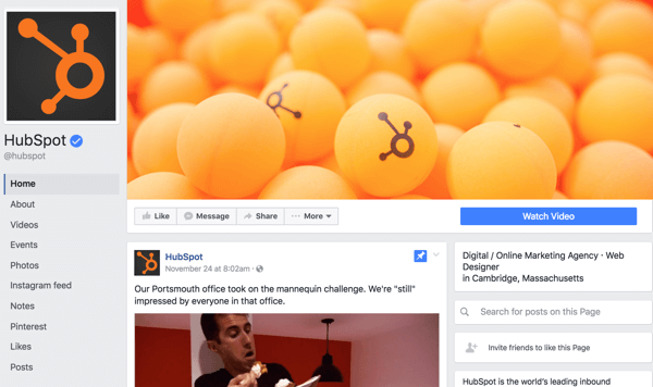 This is what the previous Facebook page layout looked like.