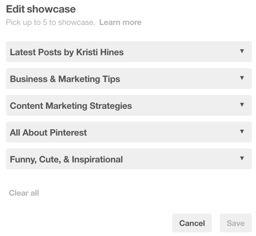You can choose up to five Pinterest boards for your showcase.