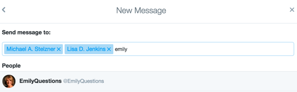 Invite Twitter users to join a private group chat.