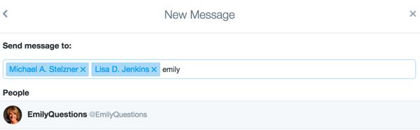Laden Sie Twitter-Benutzer zu einem privaten Gruppenchat ein.