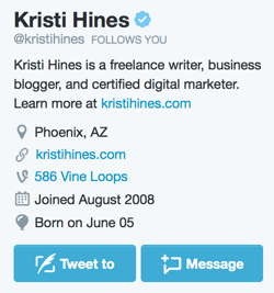Add a Message button to your Twitter profile.
