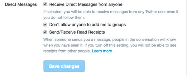 You'll find three Direct Messages options in your Twitter Security and Privacy Settings.
