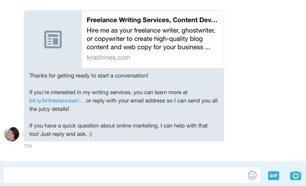 Wenn Benutzer in Ihrem Twitter-Profil auf die Schaltfläche Nachricht klicken, wird Ihre Begrüßungsnachricht automatisch angezeigt.