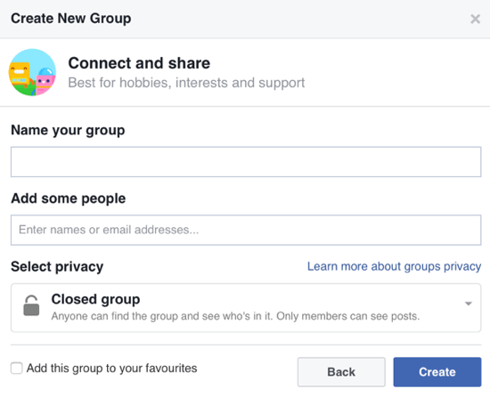 Fill out the information about your Facebook group and add members.