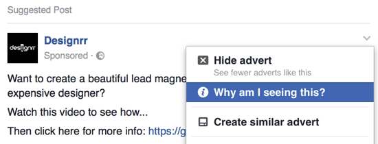 Find out whom the business is targeting with their Facebook ad.