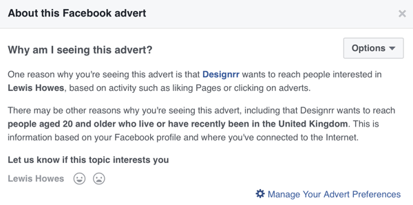 Facebook will show detailed targeting information for a Facebook ad.