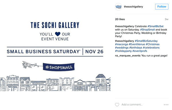 Small businesses should post regularly about Small Business Saturday in November and use popular event hashtags.