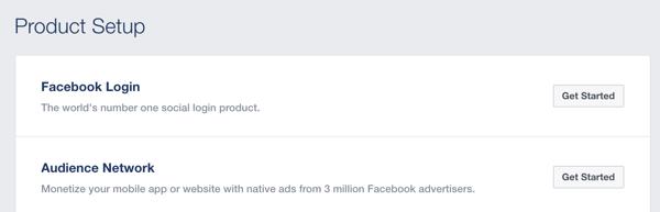 Click Get Started next to Facebook Login.