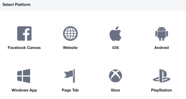 Select Website as your Facebook app platform.