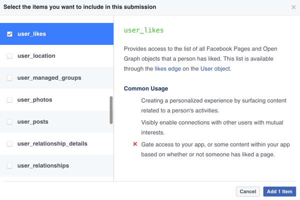 Select which items you want to include in your Facebook app submission.