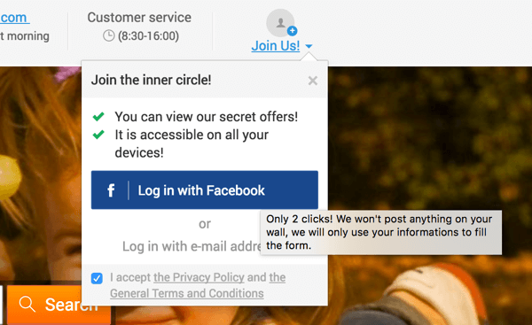 A pop-up message provides further explanation for the Facebook Login process.