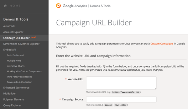 Use Google URL Builder to add parameters to your URLs so you can track your campaigns.
