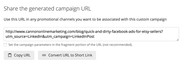 Add new parameters to your URL depending on where you plan to share it.