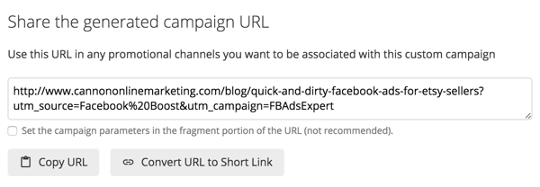 Google's URL Builder generates a special link you can share.