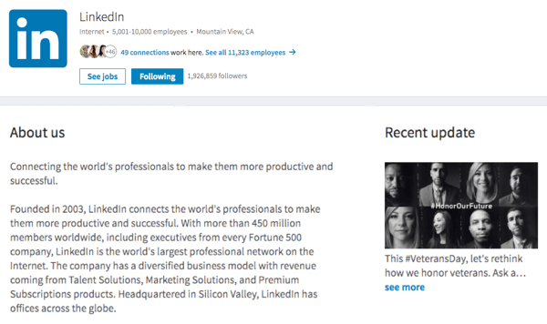 Check your image, About Us, and updates on your LinkedIn company page.