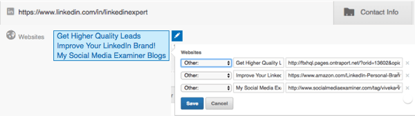 Regularly check the links on your LinkedIn profile and update them as necessary.
