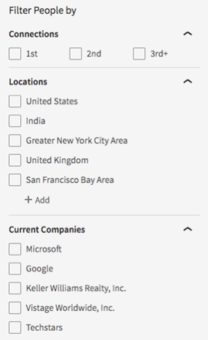Search options are limited in the updated free version of the LinkedIn user interface.