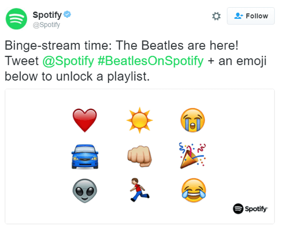 These emojis were given new meaning when Spotify let fans use them to unlock Beatles playlists.