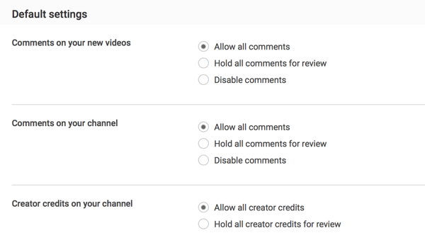 You can allow all comments upon submission or choose to hold them for review depending on your YouTube moderation preferences.