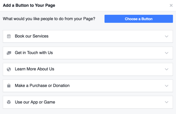 Add a call to action to your Facebook business page.