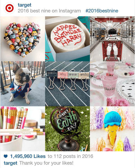 Here's an example of Target's top nine Instagram posts in 2016.