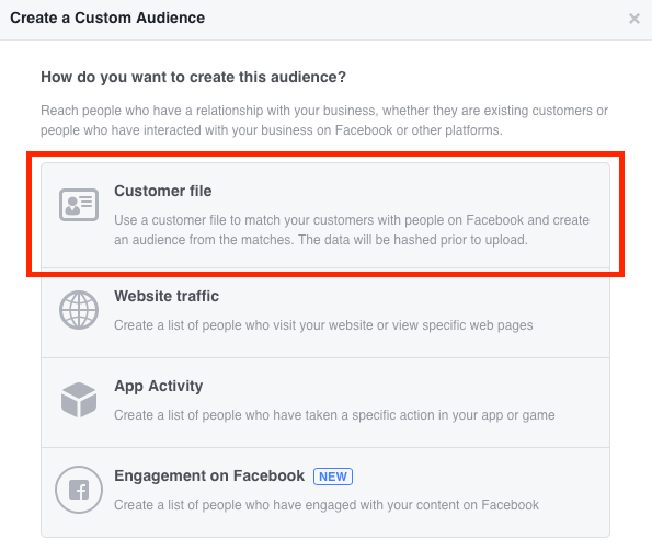Select Customer File when creating a Facebook custom email audience.