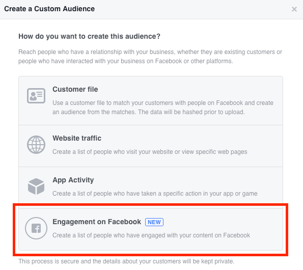 Select Engagement on Facebook when creating your custom video audience.