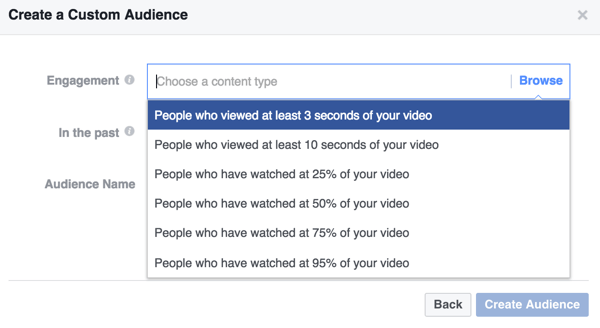 Select the engagement criteria for your Facebook custom video audience.