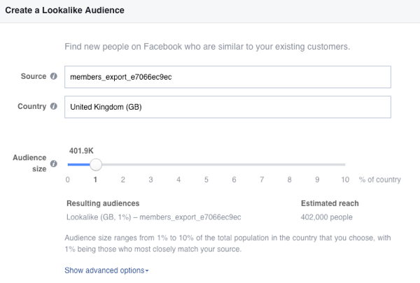 Create a Facebook lookalike audience from your email list.