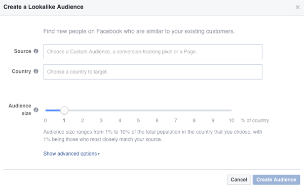 You'll see these options when you create a Facebook lookalike audience.