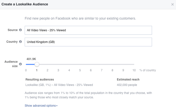 Create your Facebook video lookalike audience.