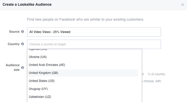 Select the country for your Facebook lookalike audience.