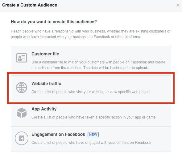 Select Website Traffic to set up your Facebook custom conversions audience.