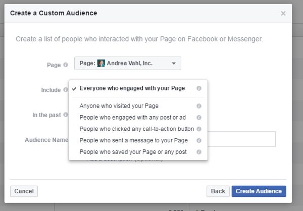 Create a custom audience of people who have engaged with you via your page or Messenger.