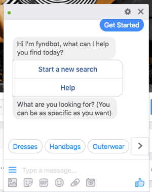 This Facebook Messenger chat bot helps customers find clothing to purchase.