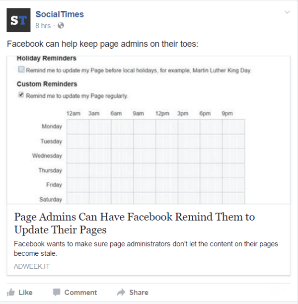 Facebook adds ability to set reminders for Page Admins.