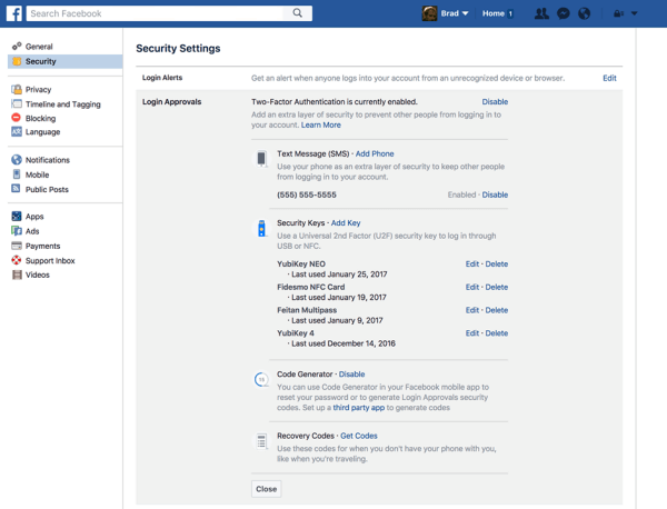 Facebook users can now register a physical security key to protect their Facebook account.
