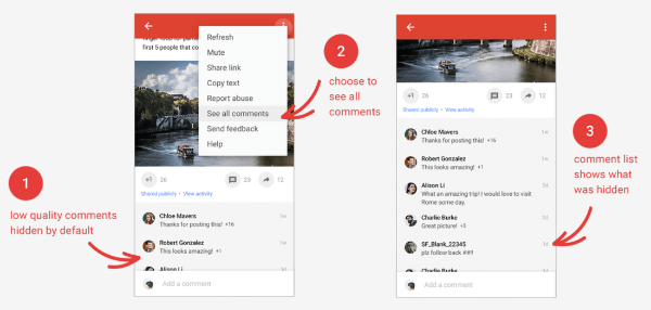 Google+ offers the option to hide lower quality comments on posts, so you can focus on the comments that matter most.