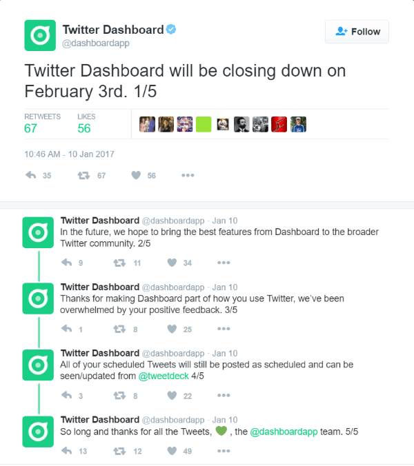 Twitter will shut down the Twitter Dashboard on February 3, 2017.