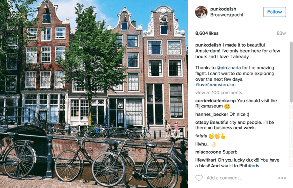 Air Canada partnered with Instagram influencers to promote new routes to Amsterdam, Mexico City, and Dubai.
