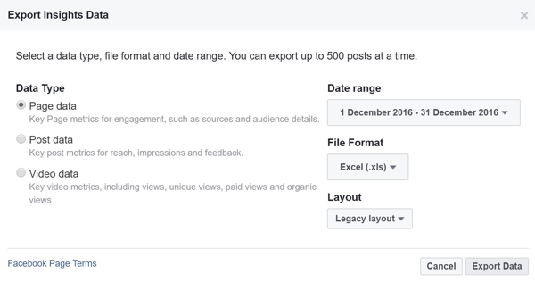Choose the data type, range, file format, and layout for your Facebook Insights data.