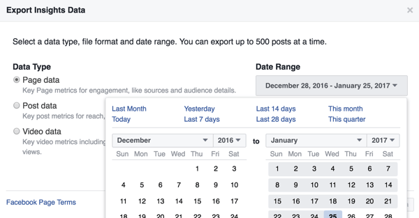 You can change the date range for the Facebook Insights data you're downloading.