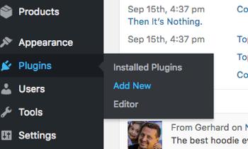 Add a new WordPress plugin from the Plugins tab.