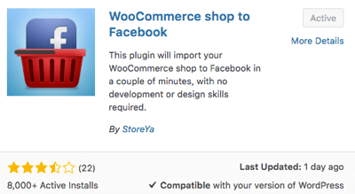 Choose and activate the WooCommerce Shop to Facebook plugin.