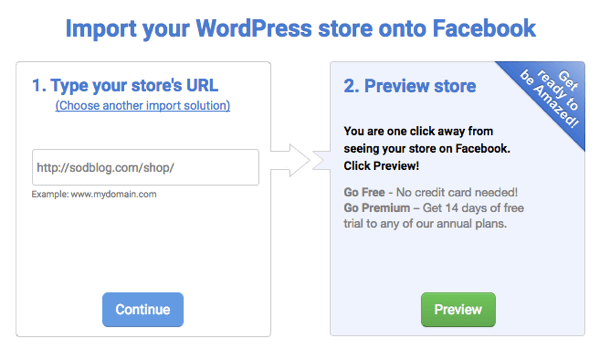 Type in your ecommerce page's URL to connect your shop to Facebook.