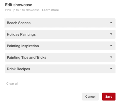 Choose five Pinterest boards to include in your front-page showcase.