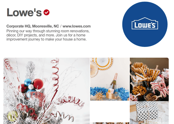 Lowe's has an exemplary Pinterest showcase that features both promotional and helpful material.