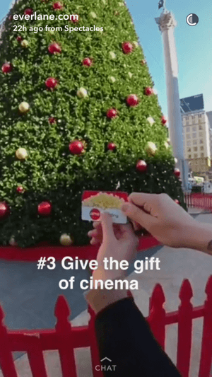 Everlane's Snapchat story showed a brand ambassador handing out a movie gift card.
