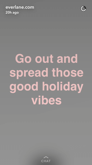 Everlane urged their Snapchat followers to spread good vibes at the end of their