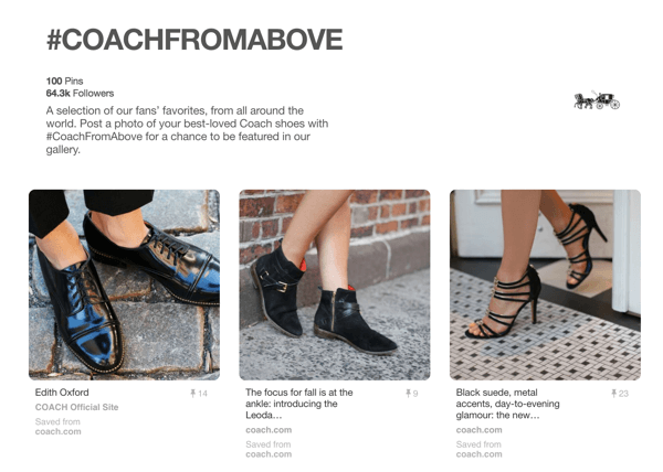 Coach shares fan images on their #COACHFROMABOVE Pinterest board.